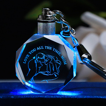 K9 Crystal Mother's Day Gift Key Chain Colorful LED Light Glass Key Ring Laser E
