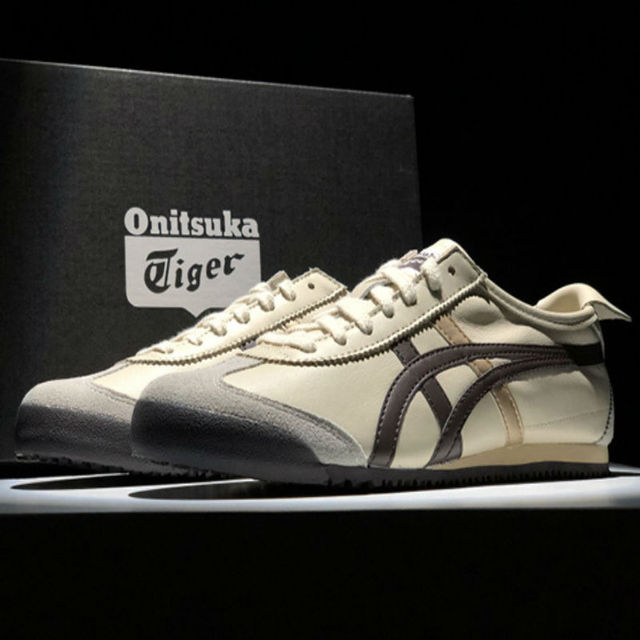 wholesale dealer c8e47 72501 US $65.0 48% OFF|ONITSUKA TIGER MEXICO 66 Men Women Shoes Beige brown  Leather Rubber Street Low Student Sneakers Badminton Shoes THL202 0207-in  ...