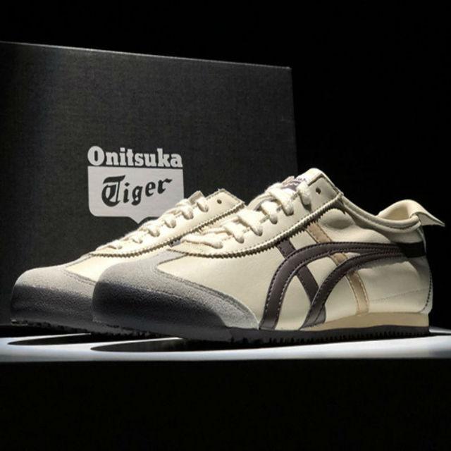 big sale 58749 11847 € 53.33 52% de DESCUENTO|ONITSUKA TIGER MEXICO 66 hombres mujeres Zapatos  Beige cuero marrón goma calle baja estudiante zapatillas bádminton zapatos  ...