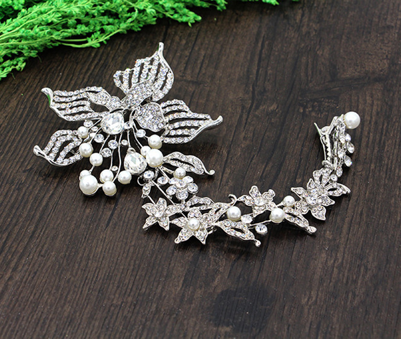 HIMSTORY Silver Bridal Jewelry White Rhinestones Pearl Crystal Frontlet Flower Hairpins Hair Accessory Haircips in Hair Jewelry from Jewelry Accessories