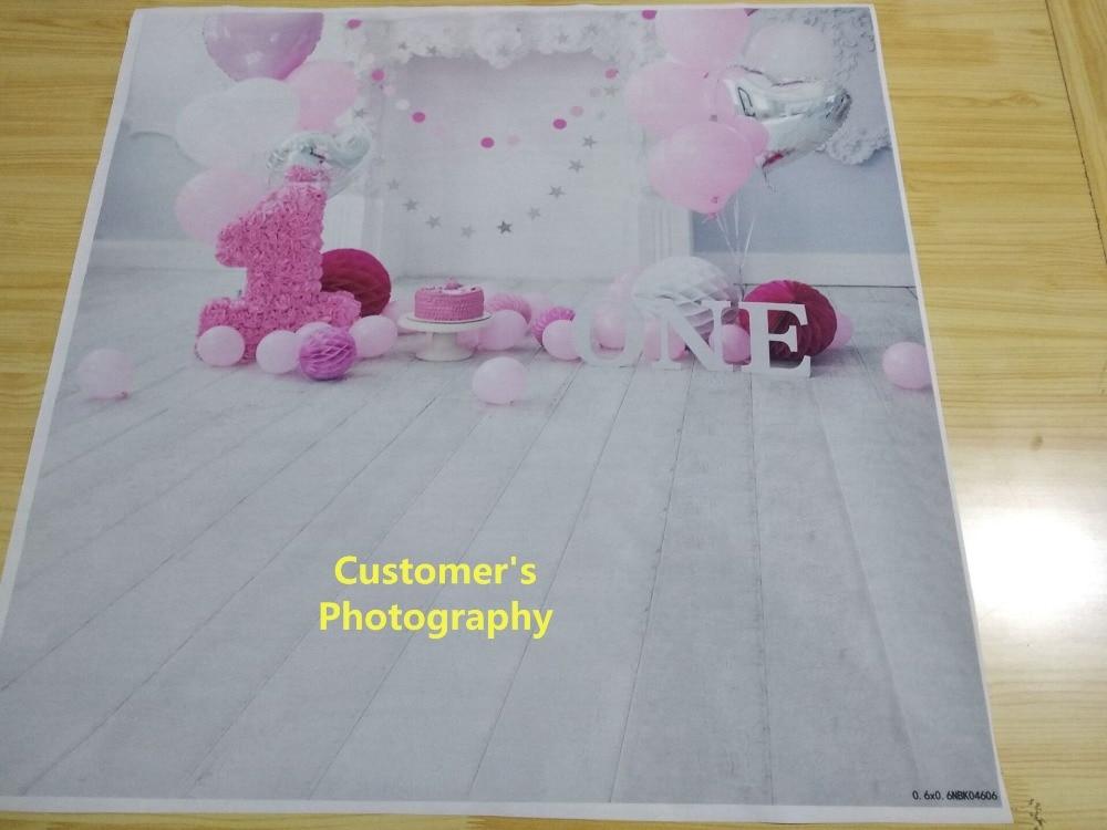 Laeacco Baby 1 Ad günü Balonları Tort Şömini Taxta Lövhələr - Kamera və foto - Fotoqrafiya 4