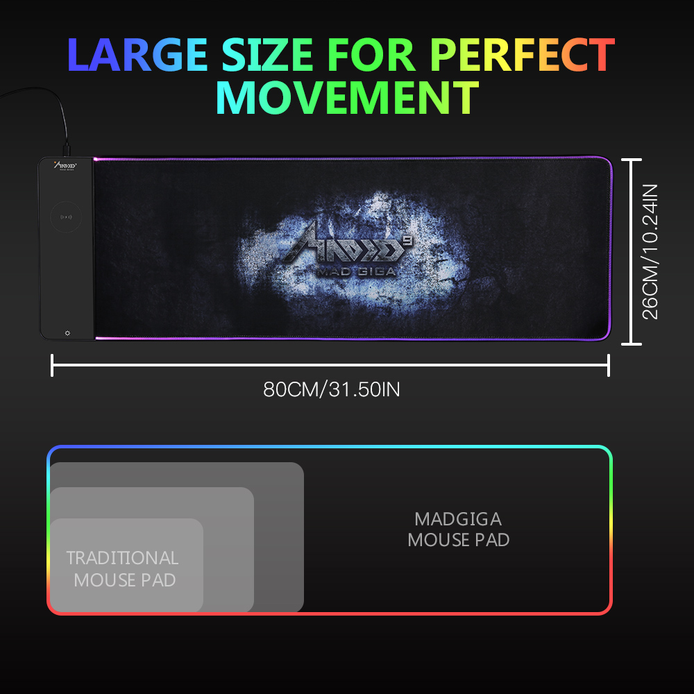Tapis de souris MAD GIGA RGB, grand tapis de souris chargeur sans fil 80 cm * 26 cm, tapis de souris de jeu 7 couleurs - 5