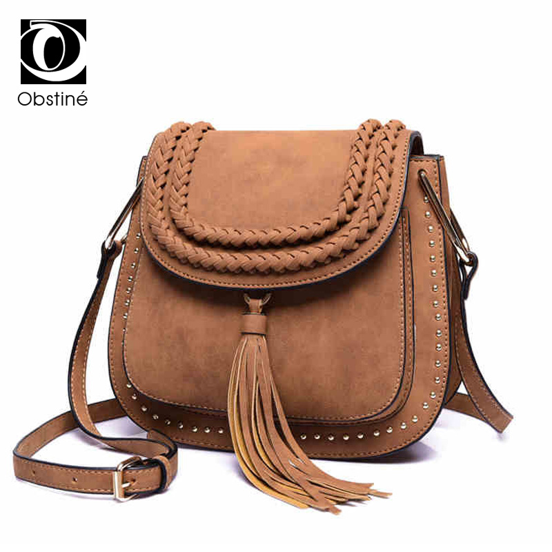 Vintage Women Bag PU Leather Tassel Shoulder Bag Small Saddle For Girls Crossbody Bags For Women Messenger Bags Female bjmoto 2x motorbike saddlebags pu leather swingarm bag saddle bags side tool bags storage for harley sportster