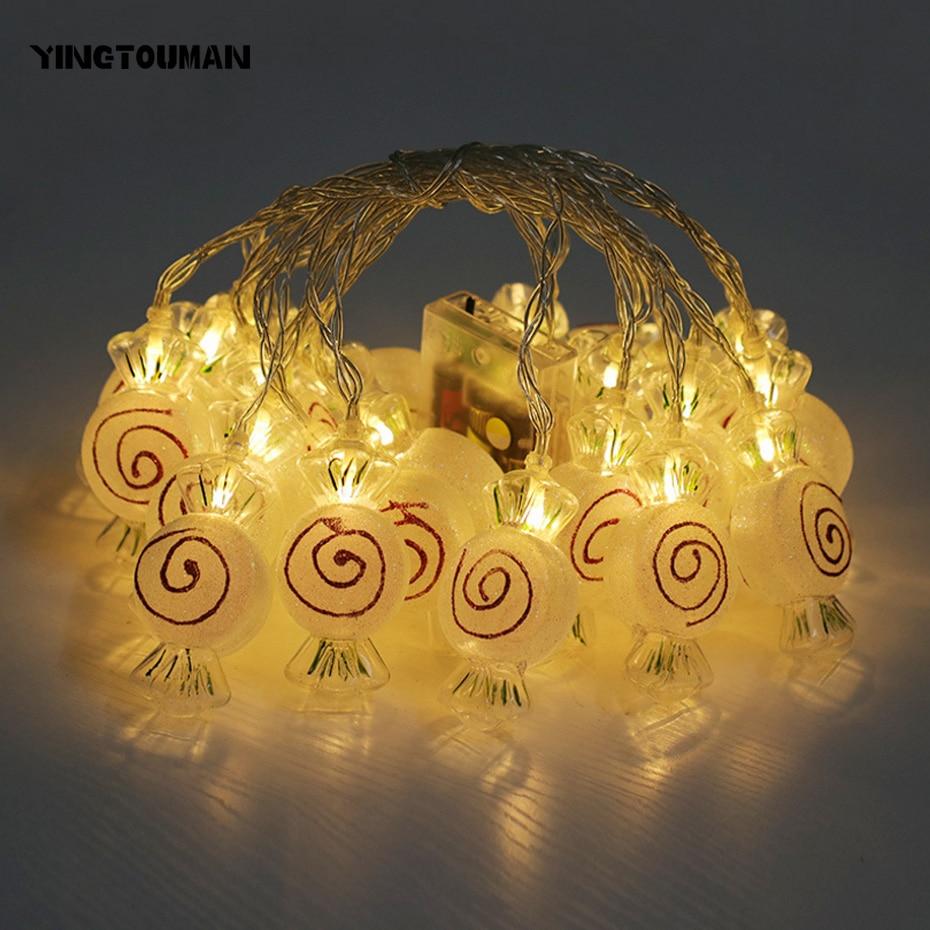 YINGTOUMANT NEW Lovely Candy Type Lamp USB LED String Light Christmas Holiday Wedding Party Decoration Lighting 4m 20LED