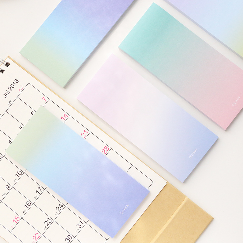 1Pcs Colorful Simple Long section Color Self-Adhesive N Times Memo Pad Sticky Notes Post It Bookmark School Office Supply BLT66