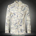 National style exquisite floral printing fashion high-end shirt 2016 Autumn&Winter cotton quality long-sleeved men shirt M-5XL