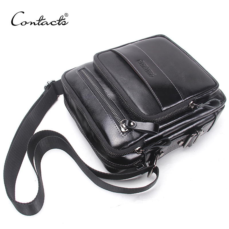 CONTACT'S New Oil Wax Genuine Leather Men's Crossbody Bag Men's Small Shoulder Bags Casual Messenger Bag Top Quality Bolsos