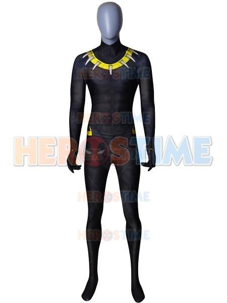 2018 Erik Killmonger Black Panther Gold Version Printing Costume Spandex Superhero Cosplay Suit Custom Made Available