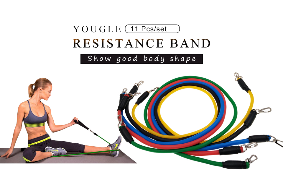 YOUGLE 11 Pcs per Set Resistance Band as Exercise Pull Rope with Hanging Buckle Made of Natural Latex 7