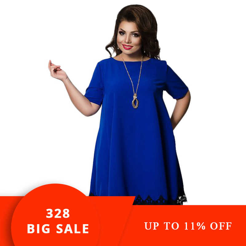 2019 Summer Women Backless Large Size Dress Plus Size Clothing Loose Blue  Short Sleeve Lace Clothing Plus Size