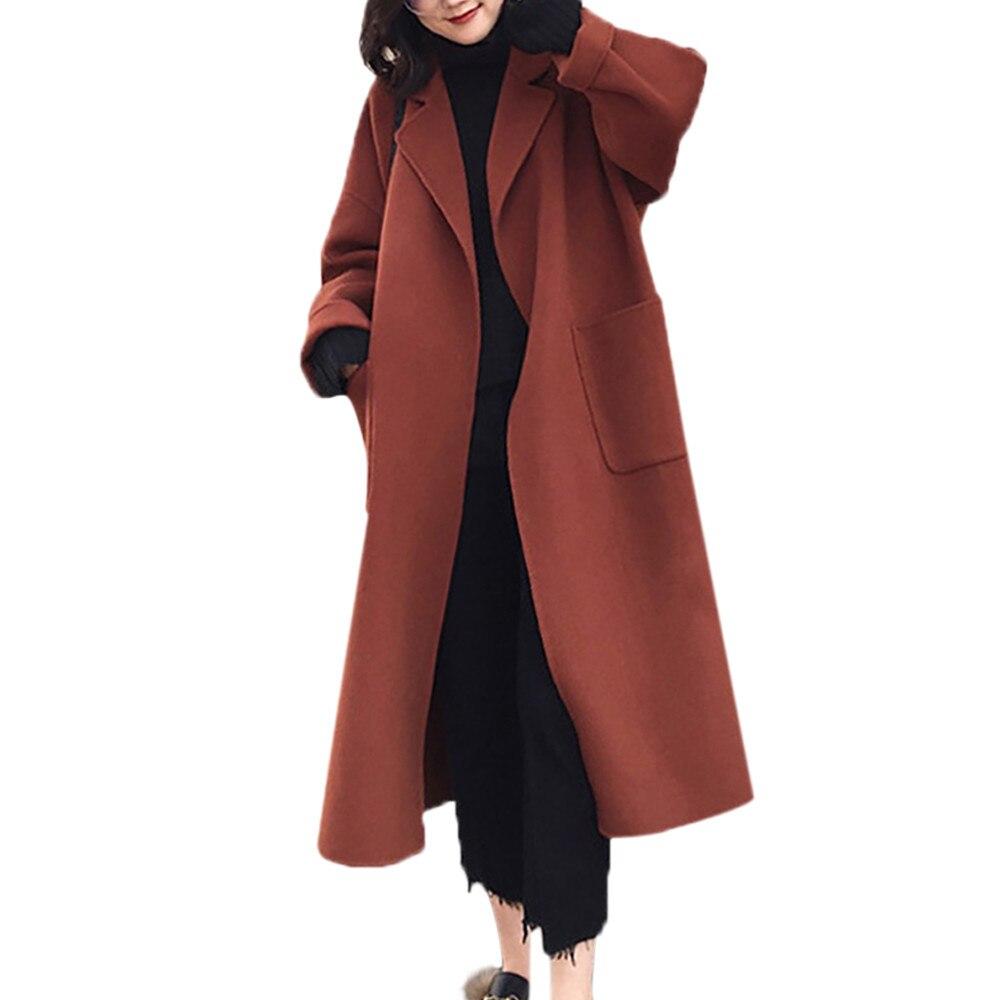 2018 Frauen Winter Warme Mantel Faux Wolle Warme Dünne Jacke Lange Mantel Elegante Frauen Einfarbig Mäntel Streetwear Veste Femme