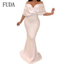 FUDA Robe De Longue Sexy Off Shoulder White Red Mermaid Dress Women Bodycon Bandage Summer Dresses Night Gowns Vestido Festa