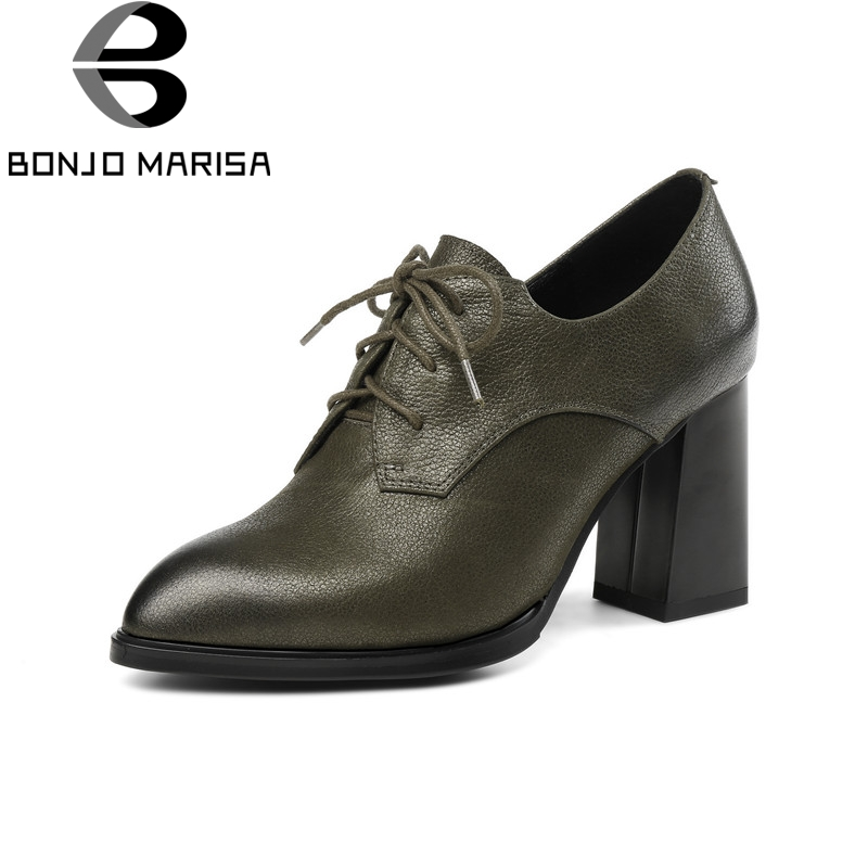 BONJOMARISA High Quality Large Size 33-43 Cow Genuine Leather Hoof Heels Woman Shoes Pointed Toe Office High Heels Ladies Pumps size 33 43 new 2017 genuine leather womens shoes wedges pointed toe high heels women office & career shoes woman single shoes
