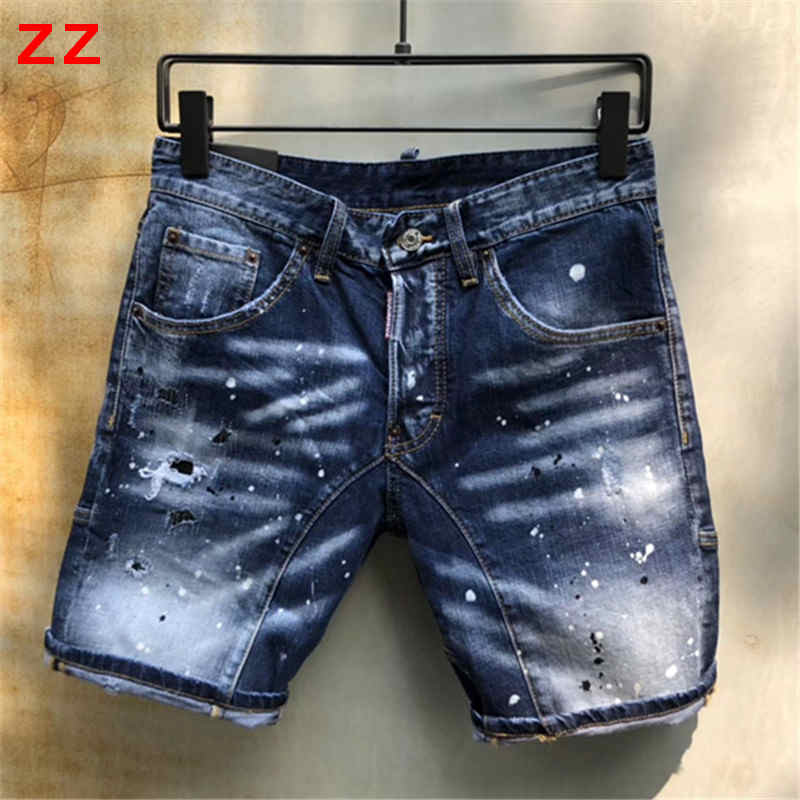 F.N.JACK Mens   Jeans   Knee Length Stylish Ripped   Jeans   Man Skinny Short   Jeans   Men Straight Denim Zipper Fly Pants