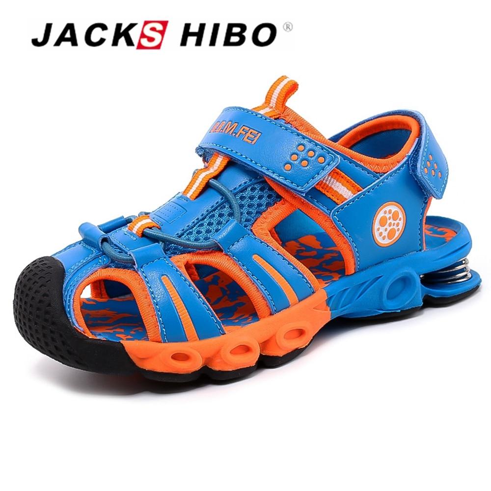 JACKSHIBO Kids Sandals Fashion Cut-outs Sandals Kids Canvas Rain Sandals Breathable Flats Shoes Anti-skid School Boy Beach Shoes