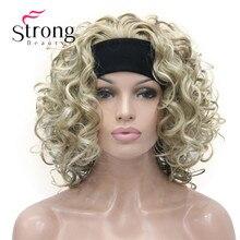 Sarışın Kısa 3/4 Kadın Sentetik Peruk Postiş Kıvırcık saç parçası Kafa Bandı ile RENK SEÇENEKLERI