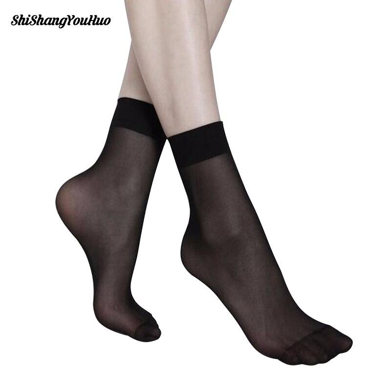 b29541d6281 Summer sexy ultrathin transparent crystal silk socks for women high elastic black  nylon short socks female