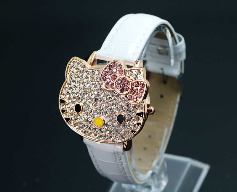 Hello Kitty Crystal Watches passer til Childlren Ladies Women Cartoon - Børneure - Foto 4