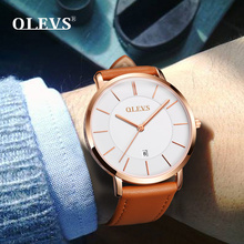 OLEVS Fashion Wrist Watches Men Watch Japan Quartz movement Genuine Leather Ultrathin Waterproof High Quality relogio masculino