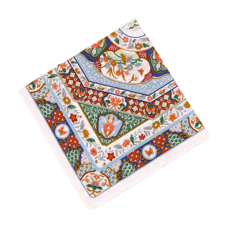 Women Couples 60s Cotton Square Handkerchief Colored Porcelain Floral Printing Pocket Hankies Wedding Party Napkin Gifts 45x45cm
