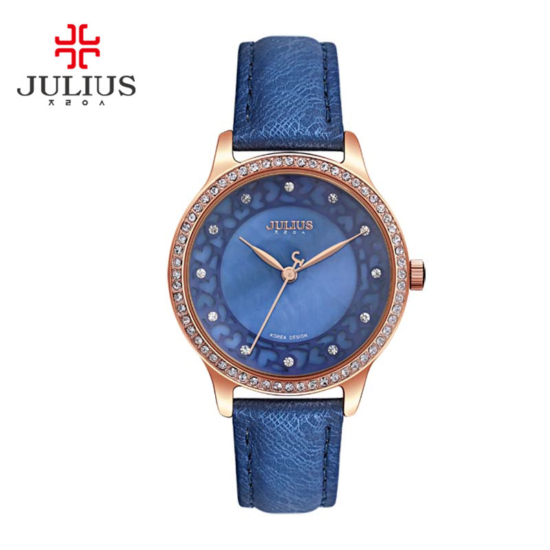 New Julius Lady Women's Wrist Watch Retro Fashion Hours Dress Bracelet Shell Hollow Heart Leather Student Girl Birthday Gift 852 cute love heart hollow out bracelet watch for women