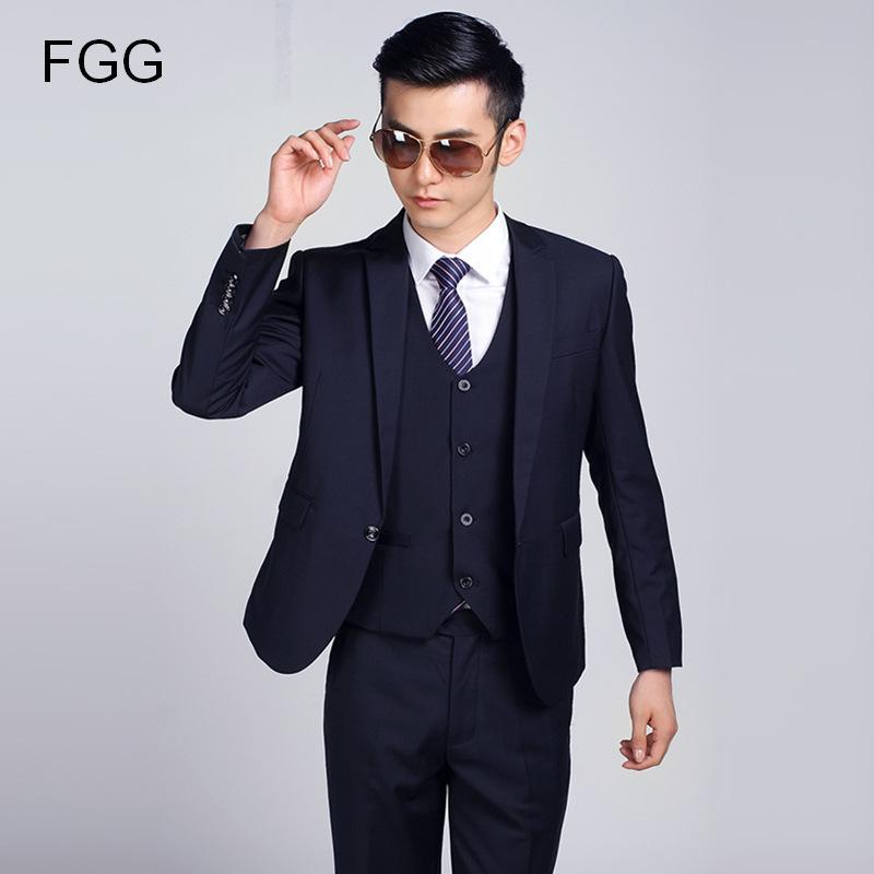 Dark Blue Formal Wedding Men Suit Set Fashion Casual Brand Terno ...