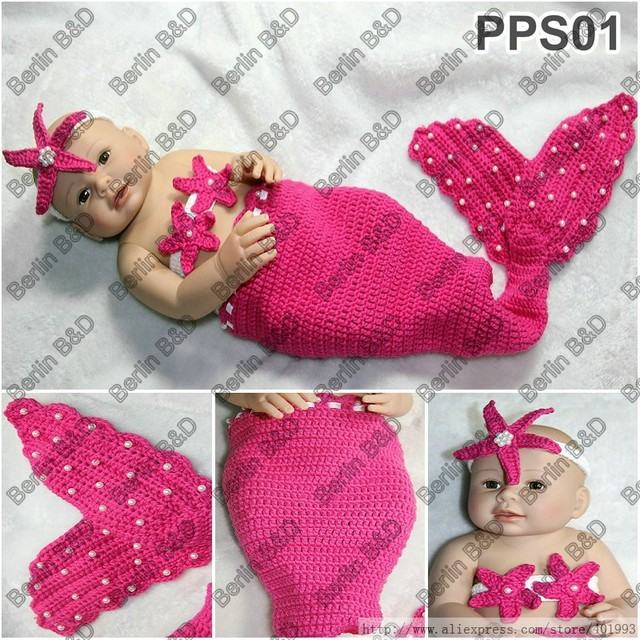 Newborn Baby Boy And Girl Sleepimg Bag Handmade Crochet Mermaid Tail