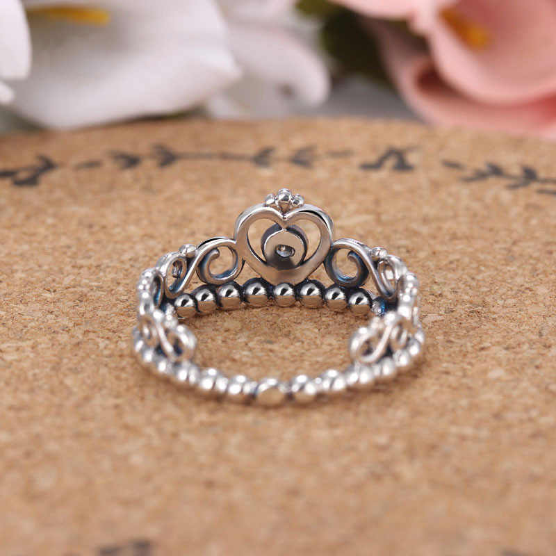 4e8c48ccf ... 30% Silver Plated Lady Ring My Princess Stackable Ring Clear CZ Women  anel Crown For ...