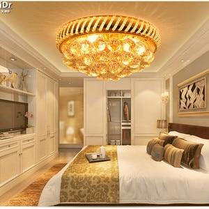 Image 2 - Tradycyjne okrągły złoty lampy kryształowe sypialnia salon lampy sufitowe LED restauracja światła przejściach i korytarzach światła lampy sufitowe Lmy 024