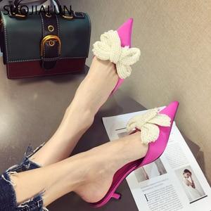 Image 3 - SUOJIALUN Women Mules Slippers Med Heel Sandals Summer Slip On Slides Brand Butterfly Loafers Flip Flops Shoes Outdoor Slipper