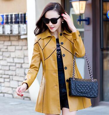 2018 spring autumn   leather   clothing coat female medium-long fashion trench outerwear Chaqueta de cuero Pu   Leather   Jacket Woman