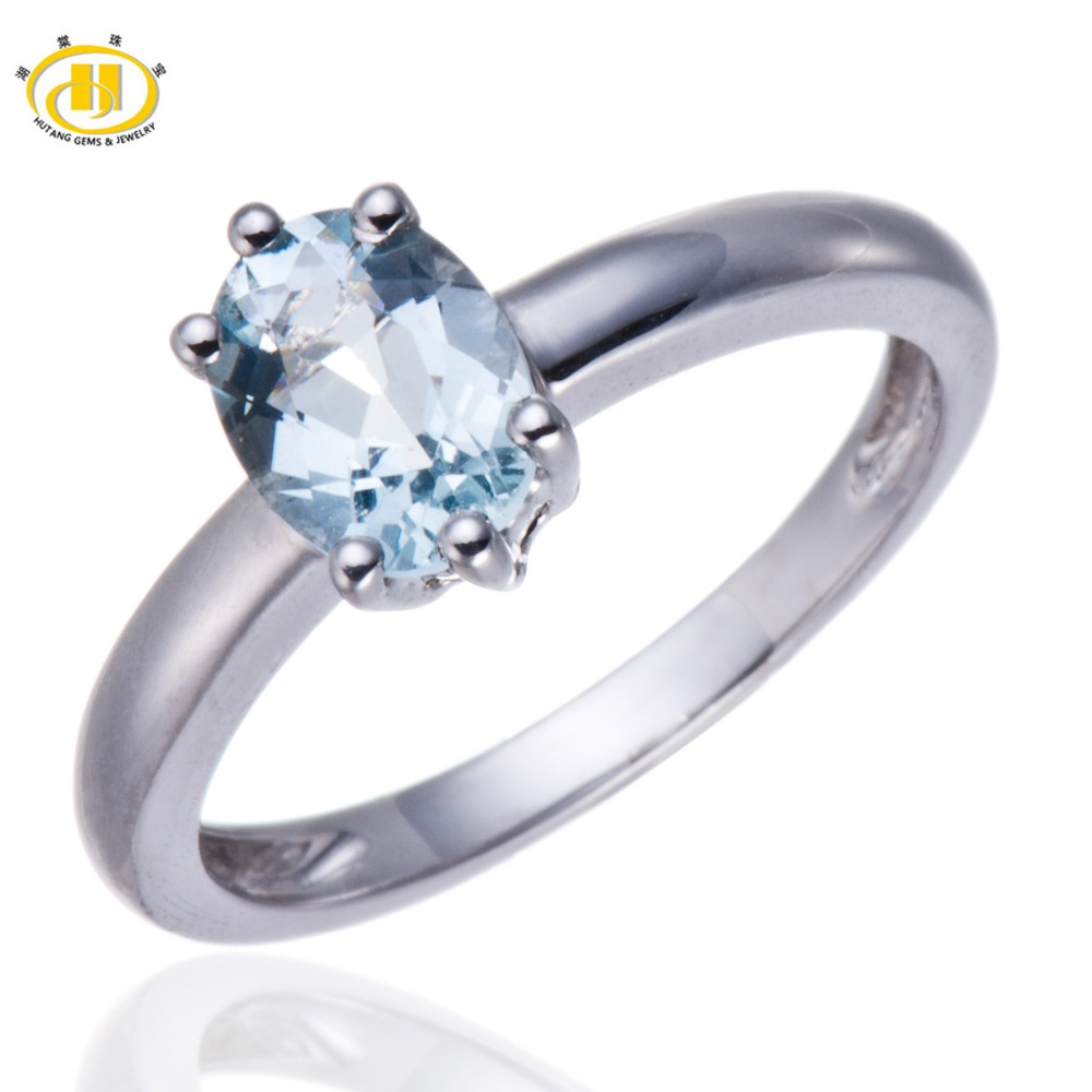 Hutang 1.06ct Natural Aquamarine Solid 925 Sterling Silver Solitaire Ring Gemstone Fine Engagement Wedding Jewelry