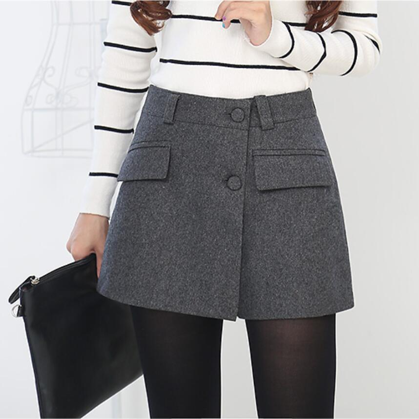 Autumn Winter Skirts Womens Vintage Casual Shorts Skirts High Waist Casual Shorts FashionLoose Skirts Shorts Women LY252