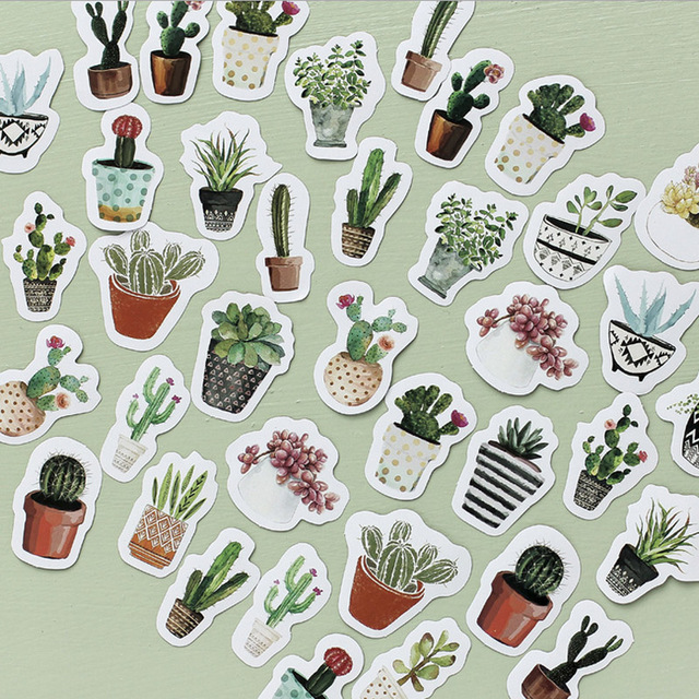 Vintage Cactus Mini Paper Stickers 45 pcs Set