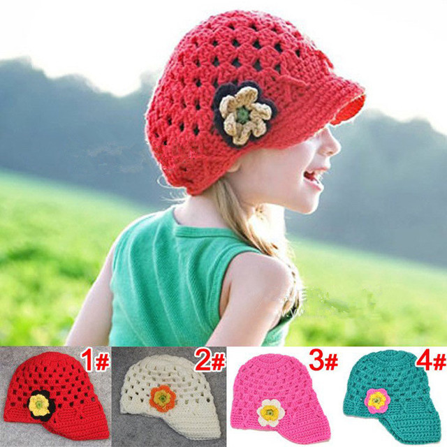 f87b7218038 Cute Handmade Baby Kids Infant Toddler Girl Crochet Knit Flowers Beanie  Hats Cap