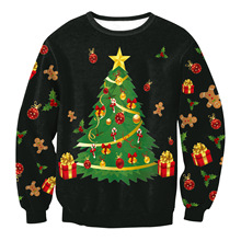 M-XL plus 2016 Winter Womens New Arrival sweatershirts Pullovers Xmas Tree Santa Claus Reindeer print Christmas hoodies clothes