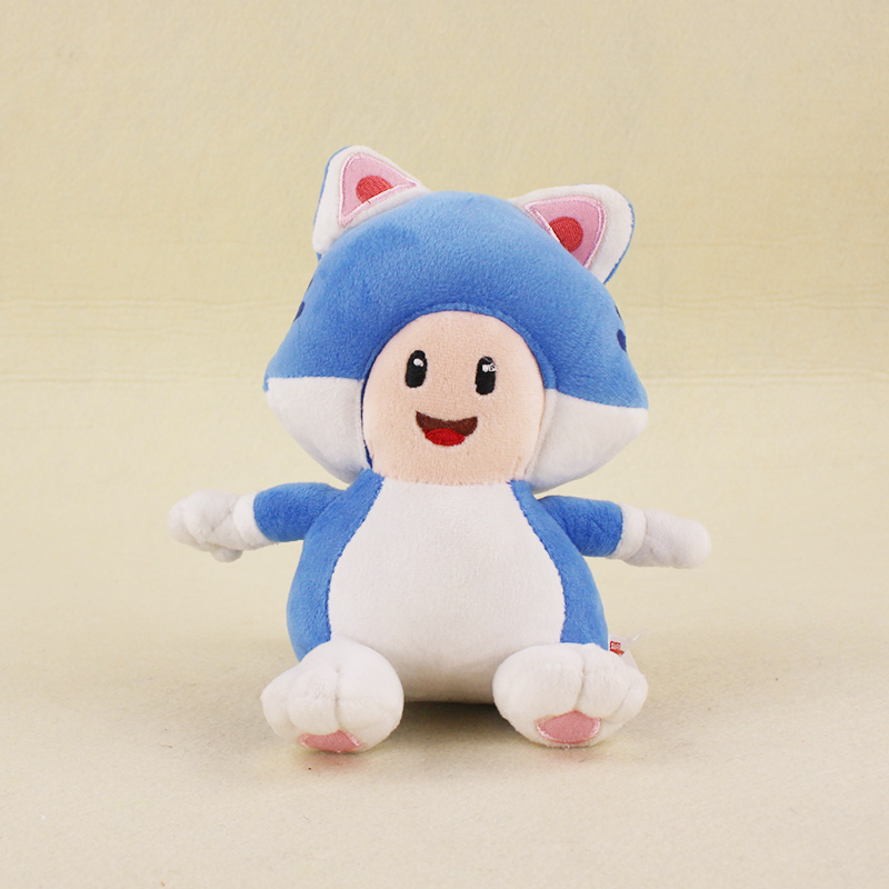 18cm Super Mario Bros KINOPIO Doll 3D World Game Cartoon Cat Blue Mushroom Toad Stuffed Animal