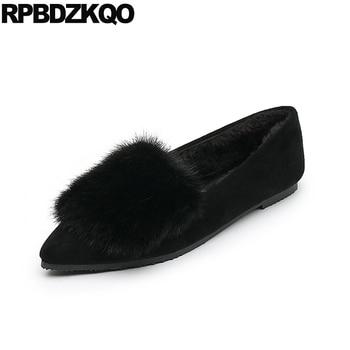 Pointed Toe 2017 Flats Fur Ladies Beautiful Shoes Women Black Size 34 Large Slip On Fashion Suede Spring Autumn European Drop