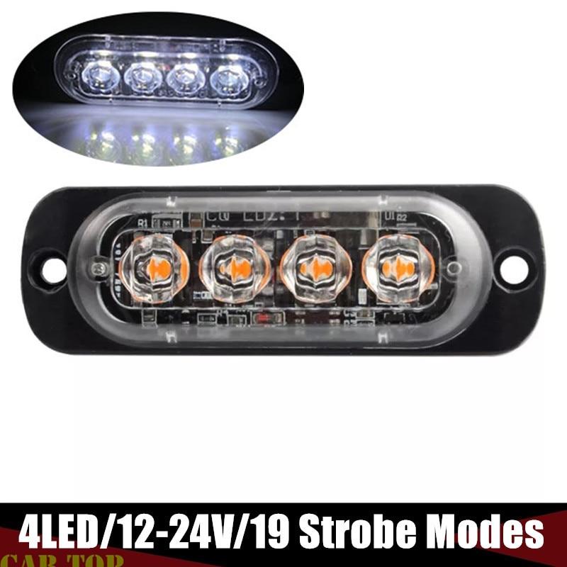 Strobe Trailer Light 4 LED Emergency Truck Marker Flash Strobe Warn Hazard Light 12V-24V Side Marker Light