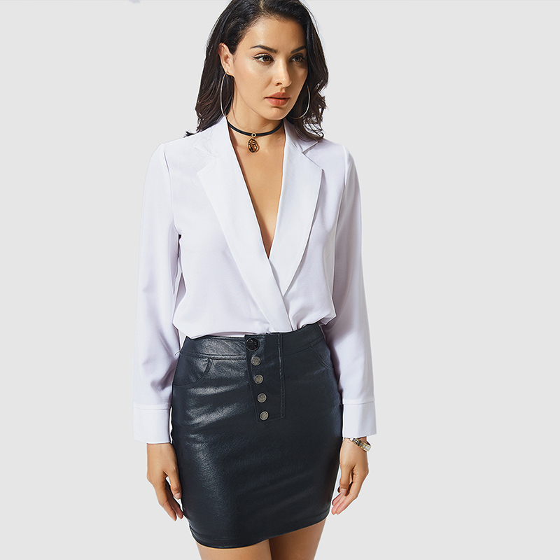 b3760d4c5cb0 Women Sexy White Shirt Bodysuit Autumn Female Deep V Neck Long ...