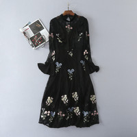 Mifairy High Quality 2017 Autumn Black O Neck Lace Embroidery Flare Sleeves Women Dress Brand Same
