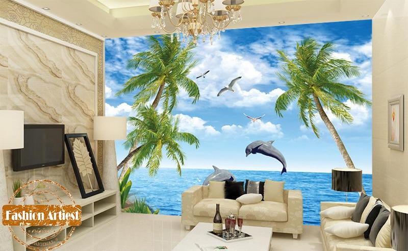 Custom 3d Tropical Sea Sky View Scenery Wallpaper Mural