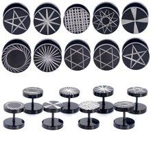 Brinco falso de aço inoxidável, 2 peças, preto, 18g, tampões para os ouvidos, expansão do ouvido, brinco 8/10 piercing do corpo, joia