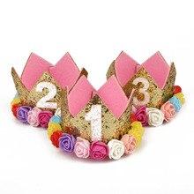 1 год День рождения украшения Дети Принцесса Корона 1st день рождения поставки первый день рождения для мальчиков и девочек 1 день рождения, детский душ