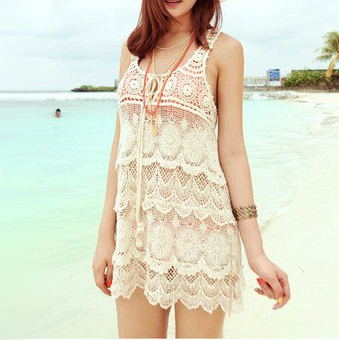 a2d1c4a0cfd7f Summer style Beige sexy cute eyelash lace crochet dresses beach cover up  tunic dress