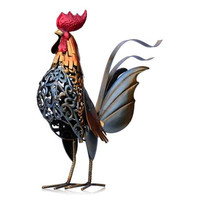 European Style Simulation Iron Art Colorful Rooster Metal Figurine Craftwork Animal Model For Home Decor Accessories X1353