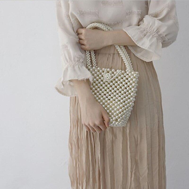 Women's Bags Original Acrylic Beaded Handmade Lady Purse Handbags Beading Pearl Women Portable Mini Tote Beach Bag Transparent Shoulder Crossbody Bags