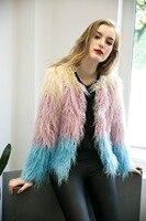 2018 Chic Winter High Quality Winter Colorful Warm Faux Fur Pink Coat Luxury Faux Fur Jacket Women manteau fourrure