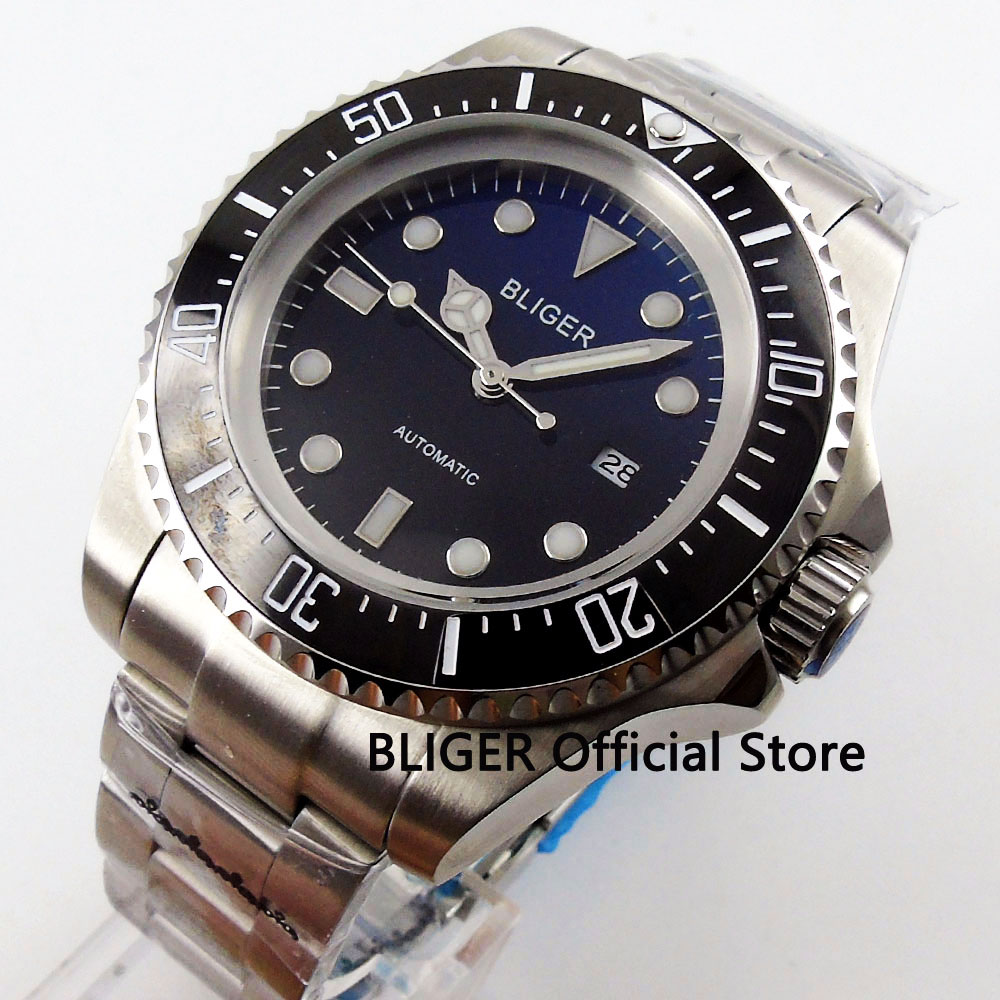 BLIGER 44mm Black Blue Dial Black Rotating Ceramic Bezel Date Adjust Luminous Marks Miyota Automatic Movement