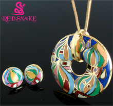 RED SNAKE New Unique Great Value Brand Rose Gold Plated Religious Byzantine Style Red Square Element Design Enamel Jewelry Set